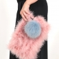 Preview: EYES ON MISHA raccoon fur bag charm Big Pompom dust blue