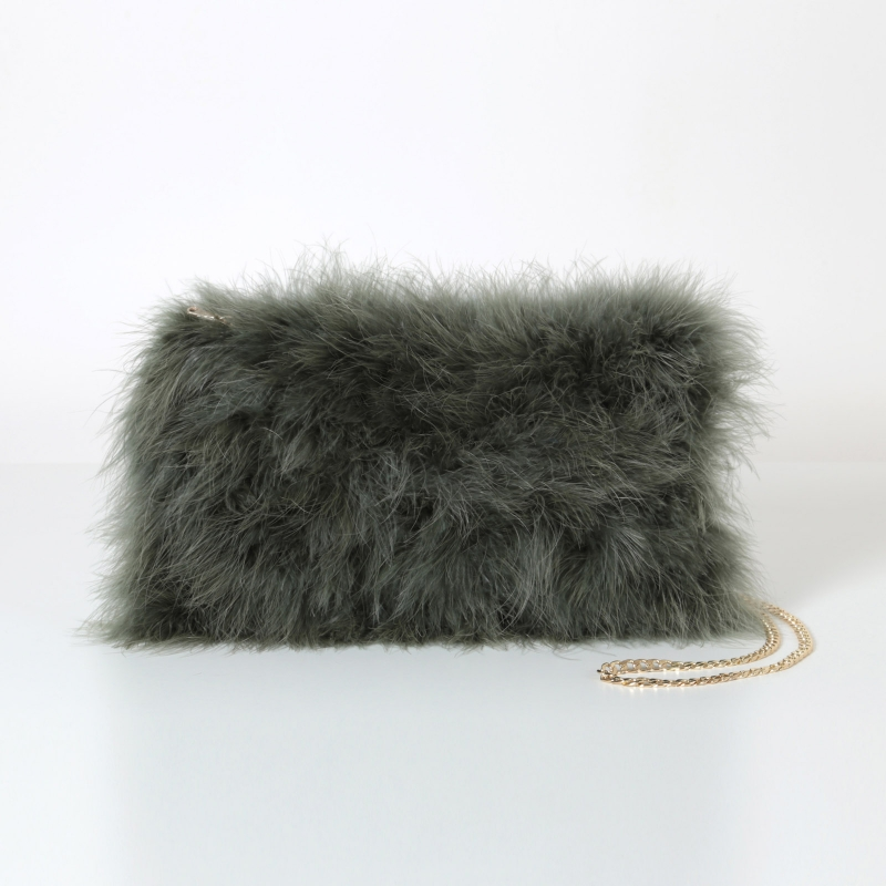 EYES ON MISHA feather handbag La Fiffi army green