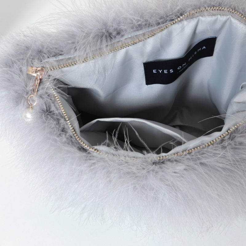 EYES ON MISHA feather handbag La Fiffi pearl grey
