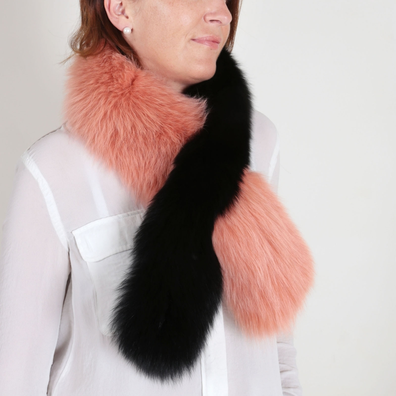 EYES ON MISHA fox fur stole Twist black orange SAMPLE