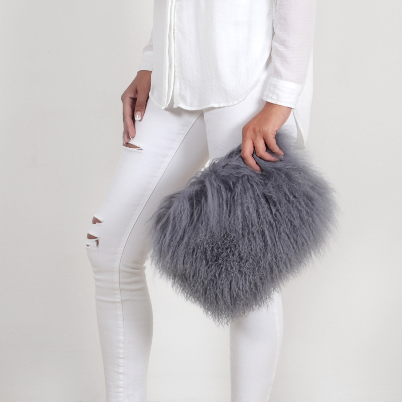 EYES ON MISHA Mongolian lamb fur bag Boho medium grey