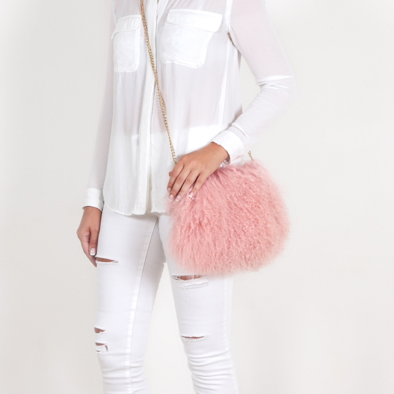 EYES ON MISHA Mongolian lamb fur bag Boho skin pink