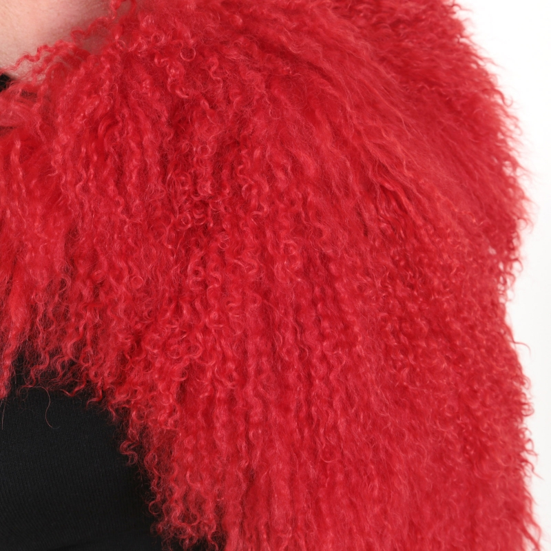 EYES ON MISHA Mongolian sheepskin shrug Paris red