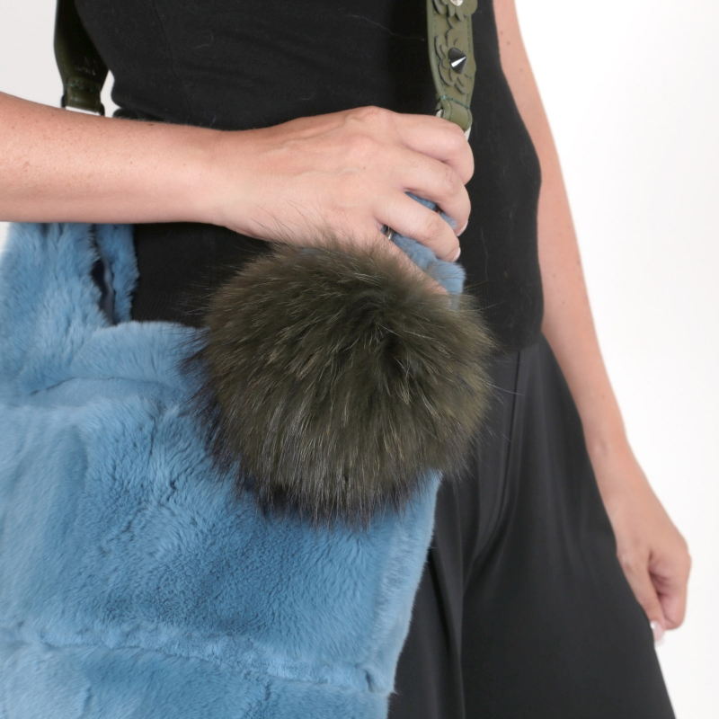EYES ON MISHA raccoon fur bag charm Big Pompom army green