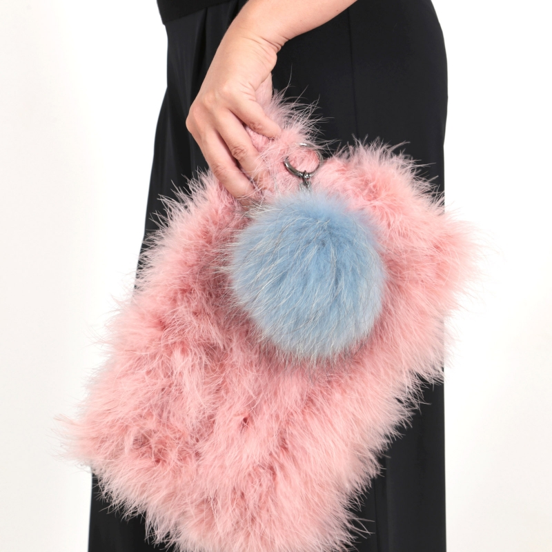 EYES ON MISHA raccoon fur bag charm Big Pompom dust blue