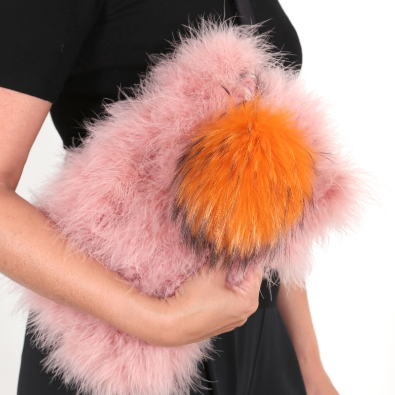 EYES ON MISHA Taschenanhänger Pelzbommel Big Pompom orange