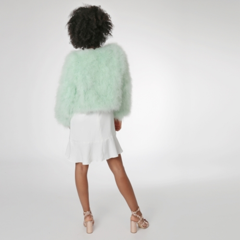 EYES ON MISHA Bolero Jacke aus Federn La Fiffi mint