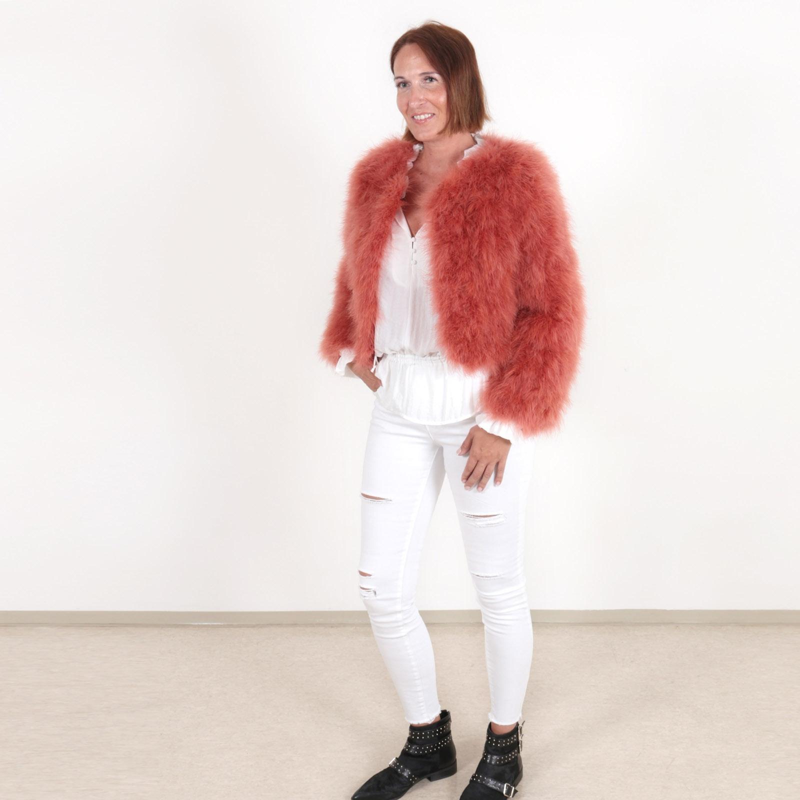 EYES ON MISHA Feather Bolero Jacket La Fiffi Burnt Orange