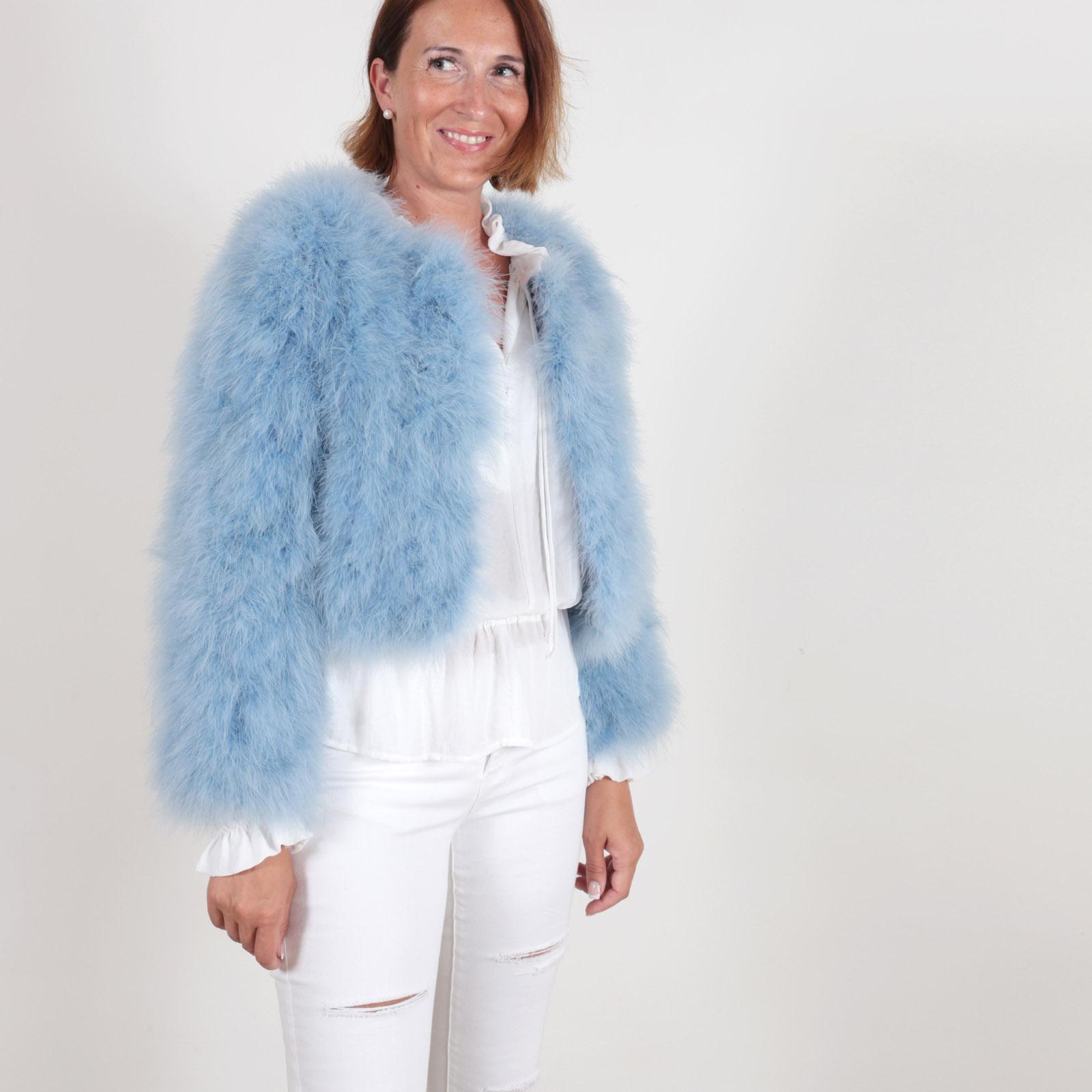 EYES ON MISHA Feather Bolero Jacket La Fiffi Dust Blue
