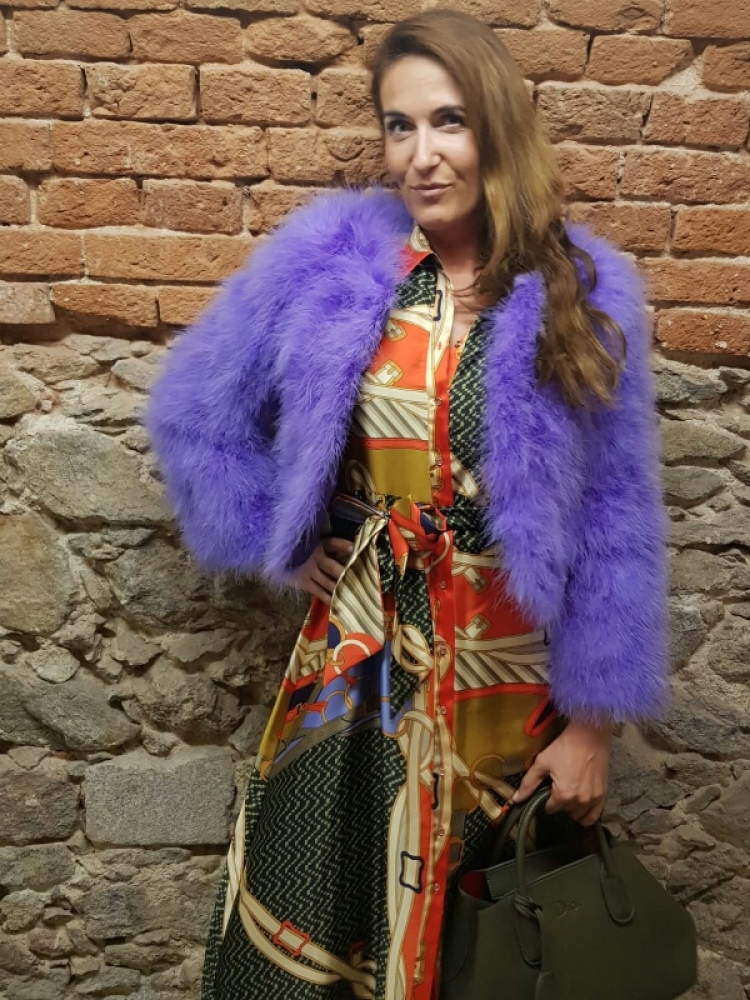 EYES ON MISHA feather bolero jacket La Fiffi violet LIMITED EDITION