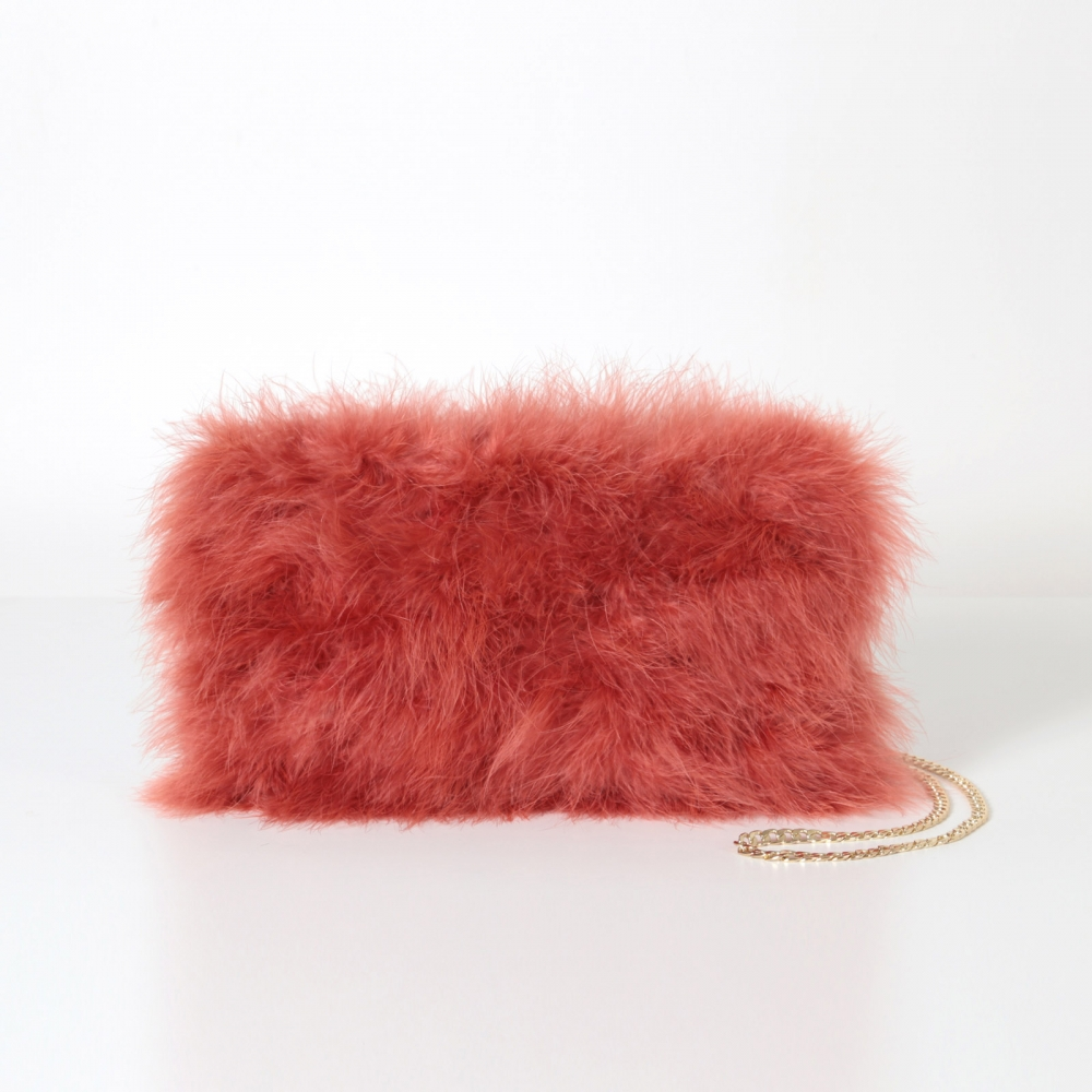 EYES ON MISHA feather handbag La Fiffi burnt orange