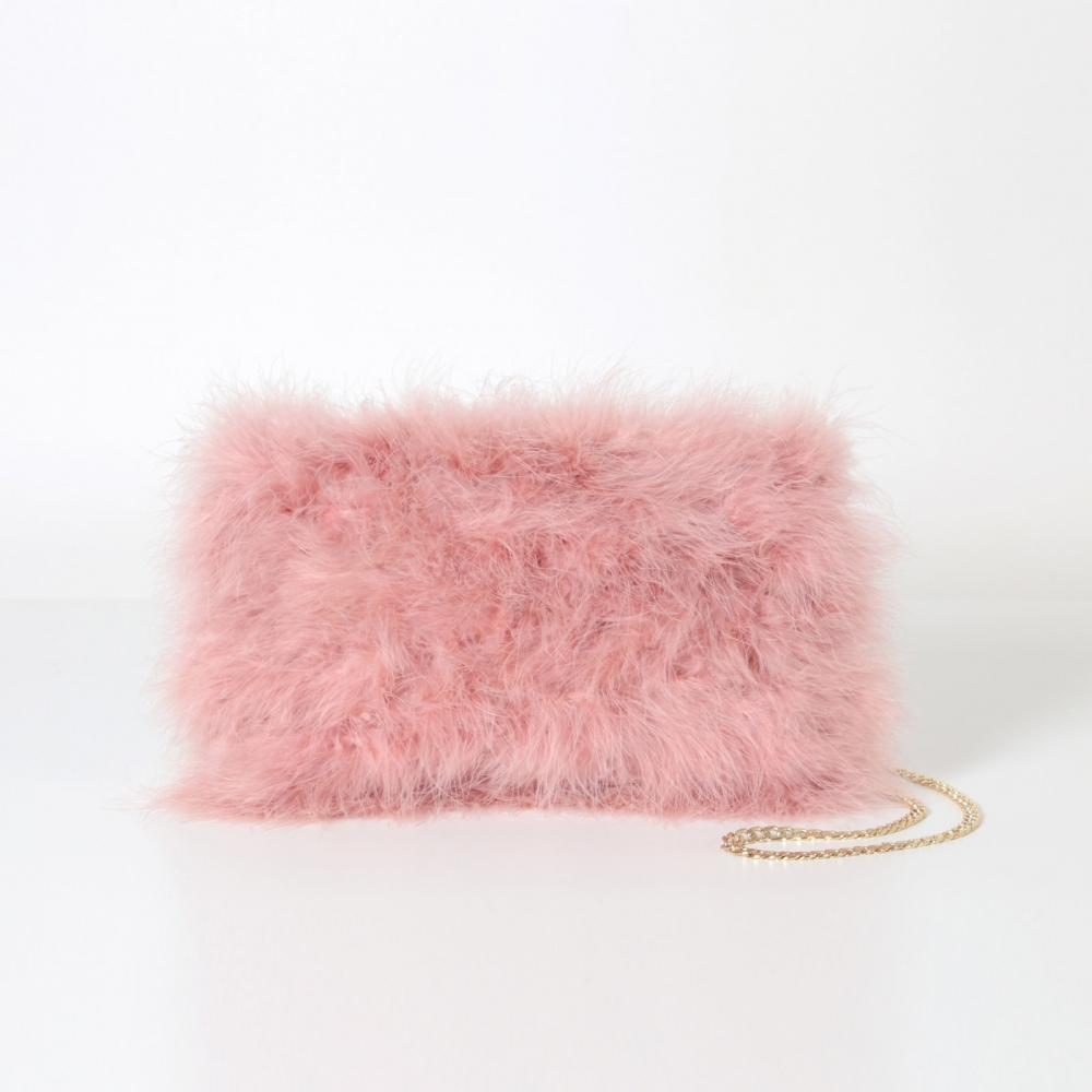 EYES ON MISHA feather handbag La Fiffi coral pink