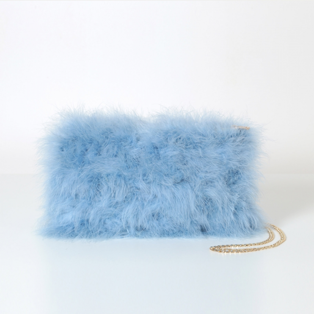EYES ON MISHA feather handbag La Fiffi dust blue