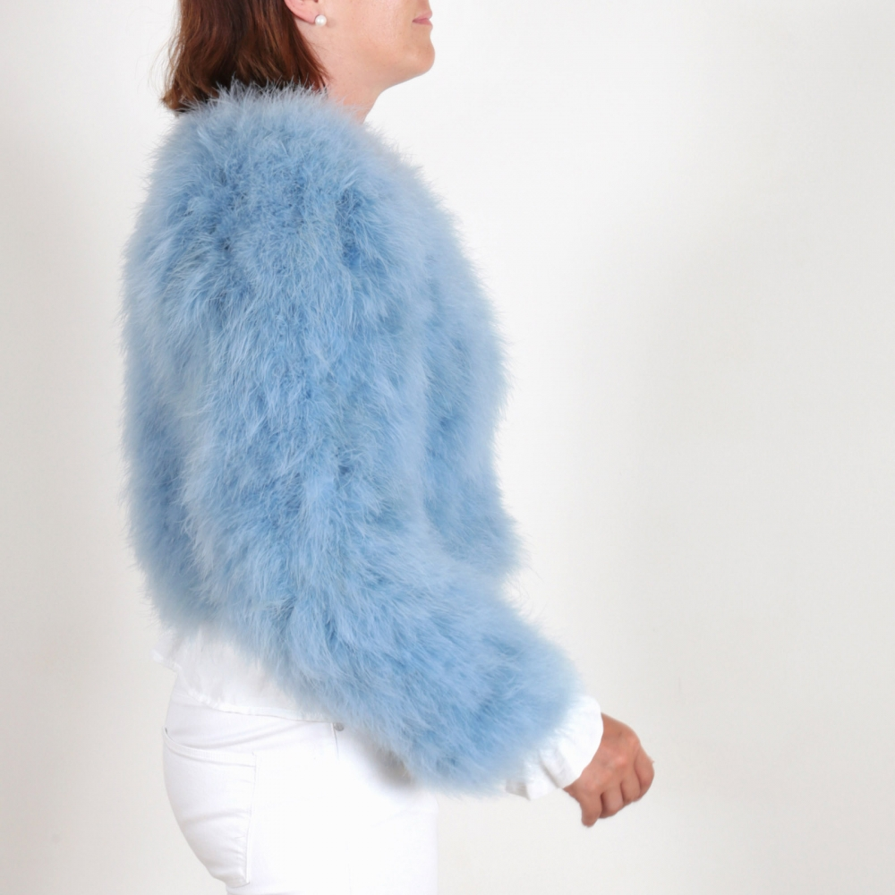 EYES ON MISHA feather bolero jacket La Fiffi dust blue