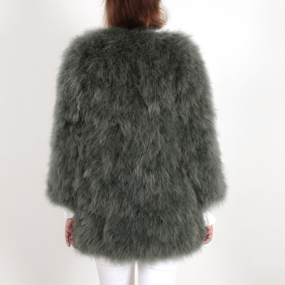 EYES ON MISHA feather coat La Fiffi army green