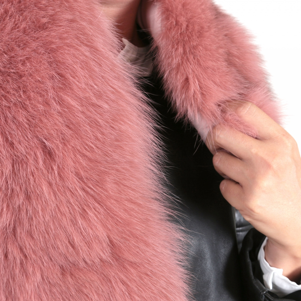 EYES ON MISHA fox fur stole Diane lobster pink