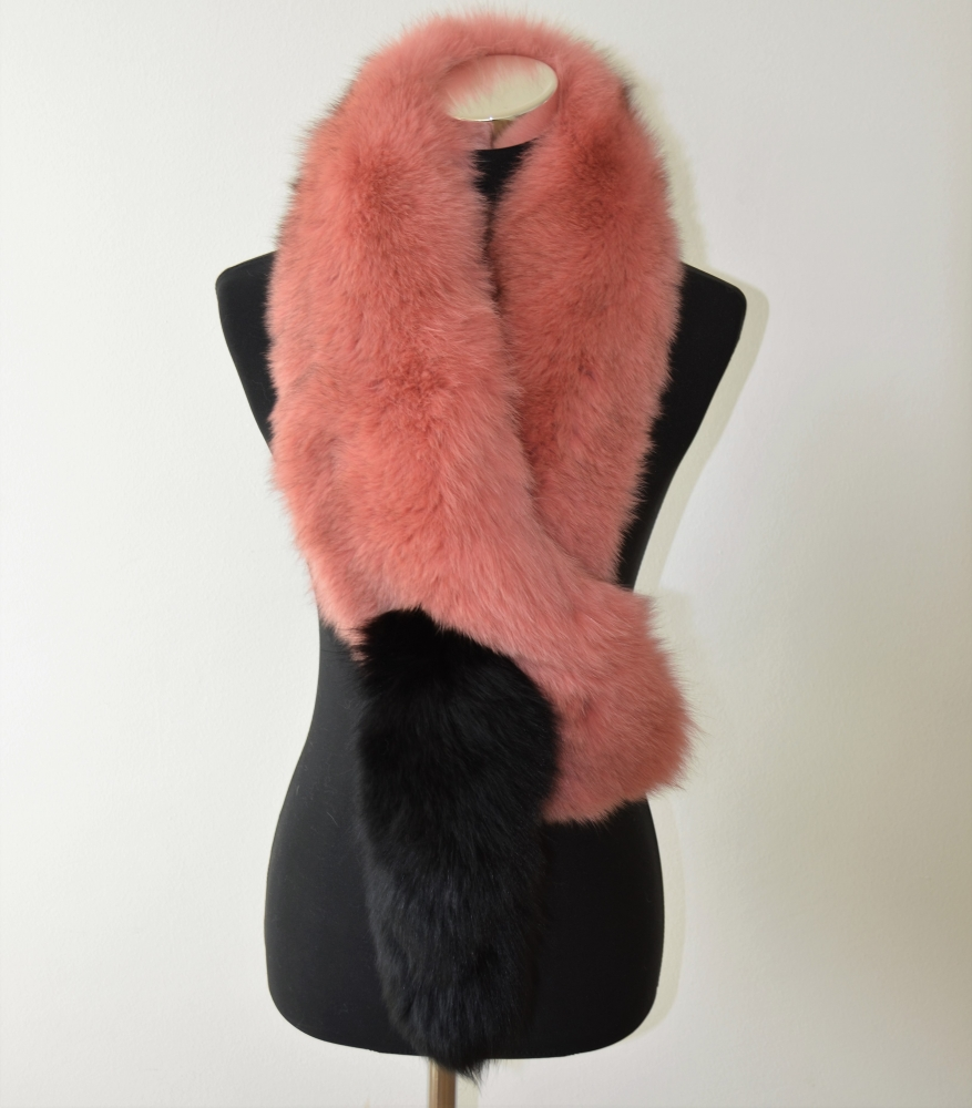 EYES ON MISHA fox fur stole Pinky with Tail  in black SAMPLE