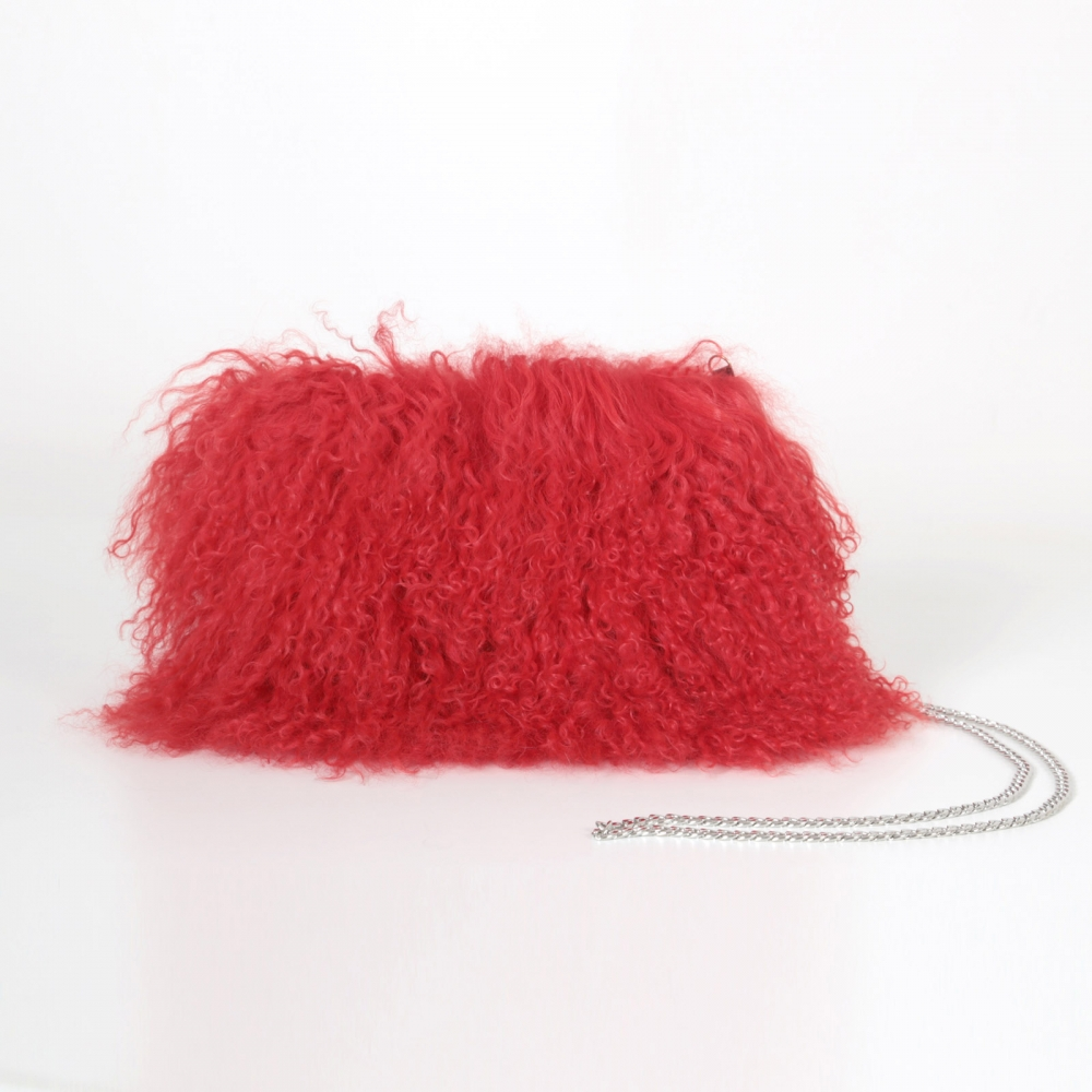 EYES ON MISHA Mongolian sheepskin handbag Boho red
