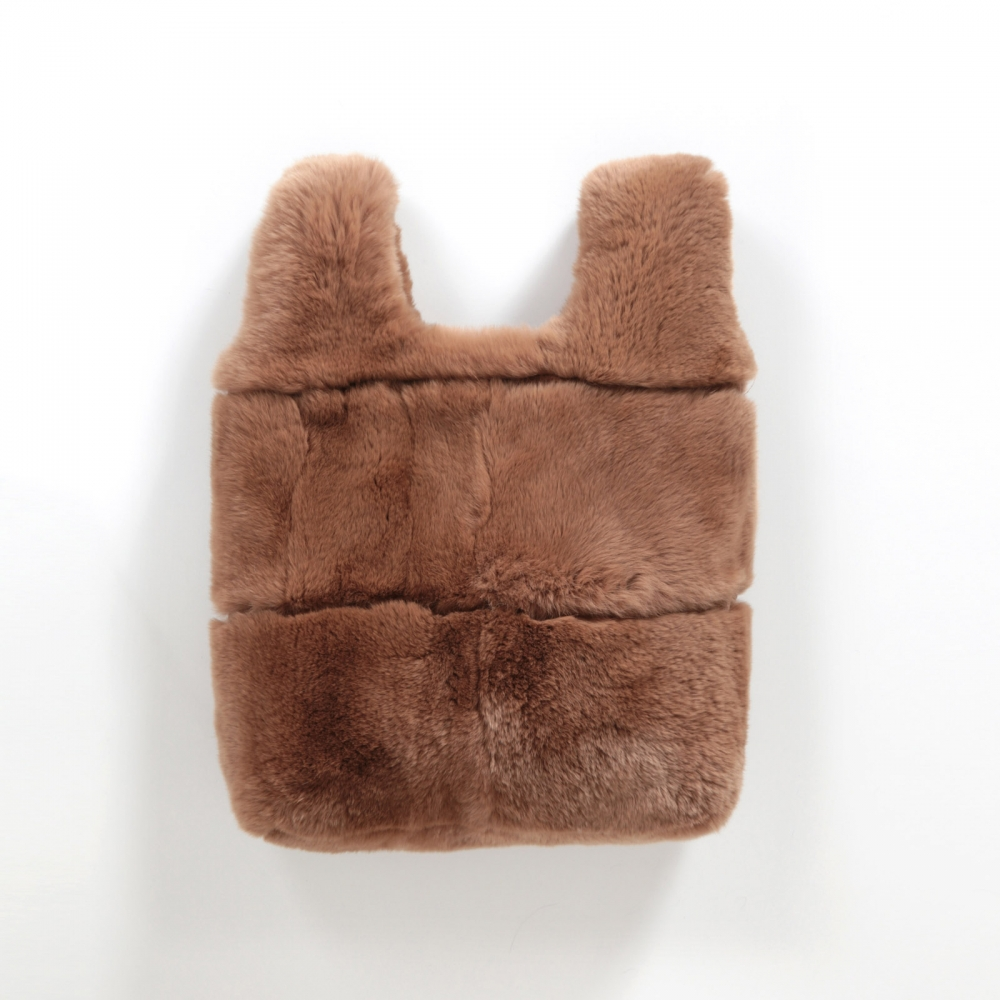 EYES ON MISHA rex rabbit fur bag Lapinette toffee brown