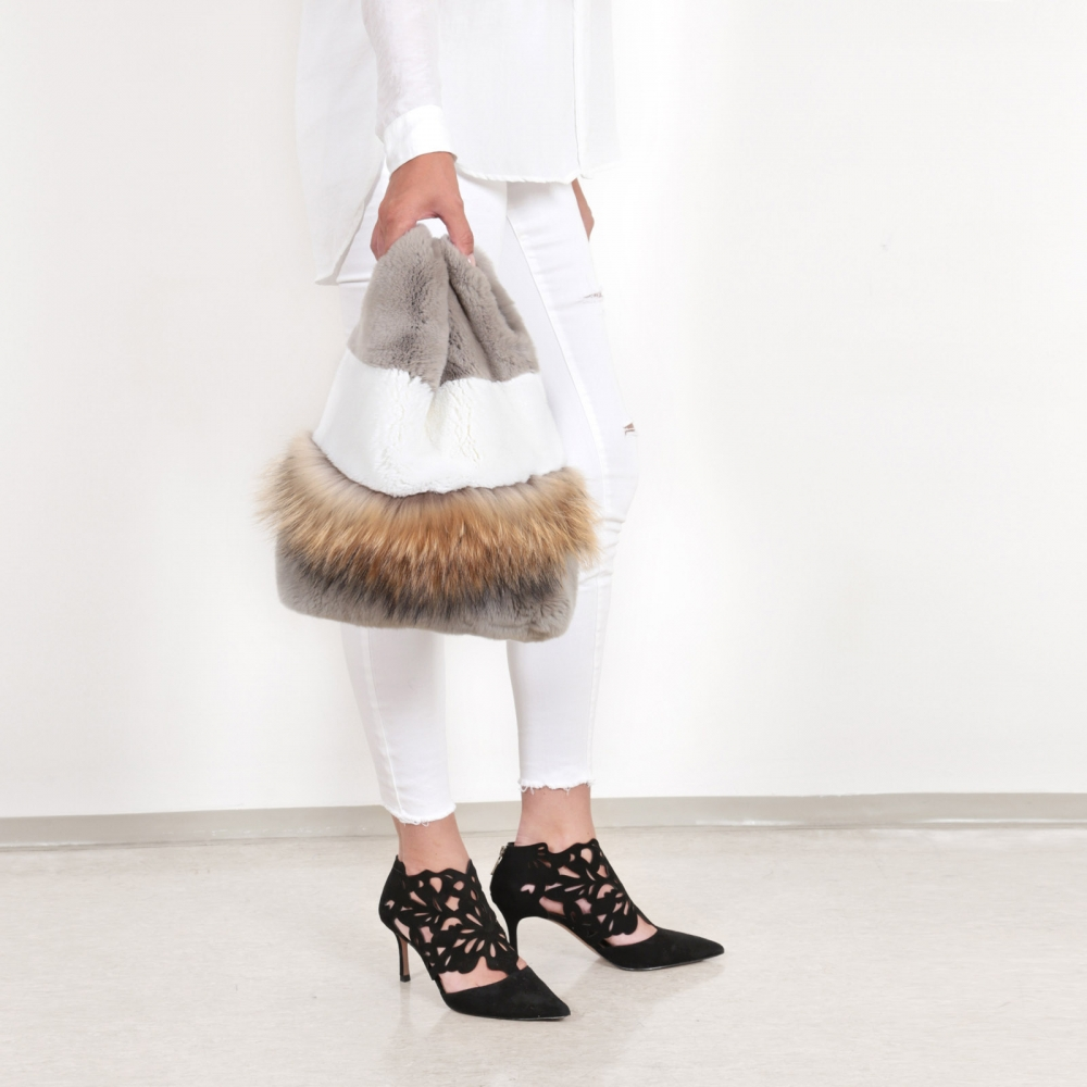 EYES ON MISHA rex rabbit and raccoon fur bag Lapinette Raccoon sand