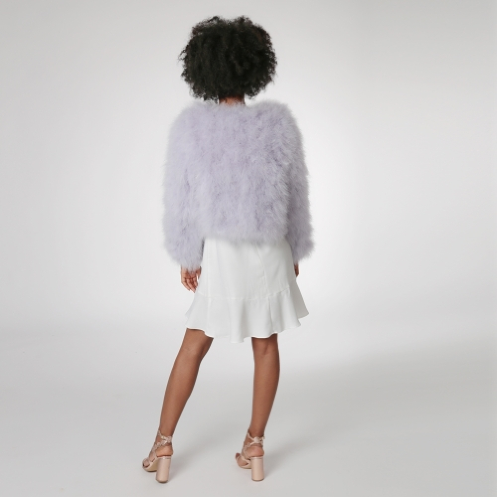 EYES ON MISHA feather bolero jacket La Fiffi lavender
