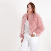 EYES ON MISHA feather bolero jacket La Fiffi coral pink