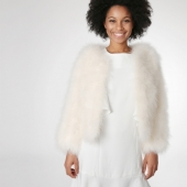EYES ON MISHA feather bolero jacket La Fiffi off-white